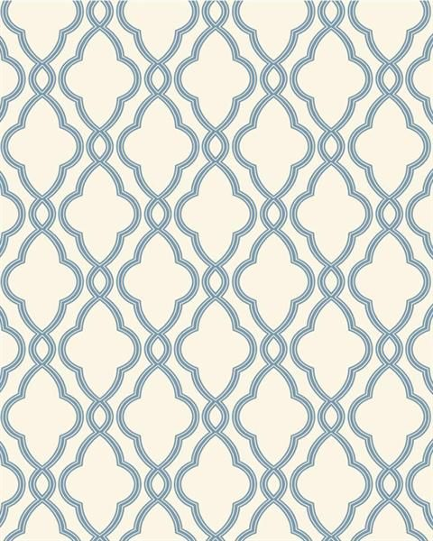WA7706 | Waverly Classics, Blue and White Hampton Trellis Wallpaper | TotalWallcovering.Com