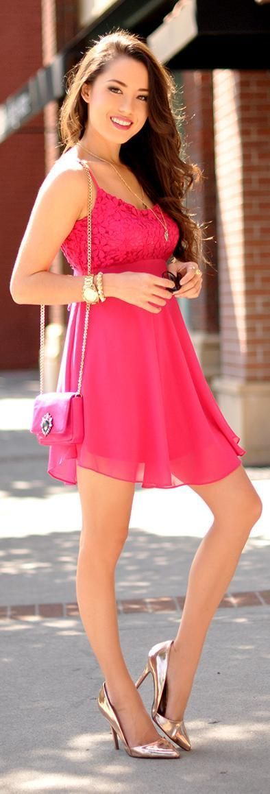 Pink Sexy Lace Mini Dress with Gold Pumps | Street Chic Outfits