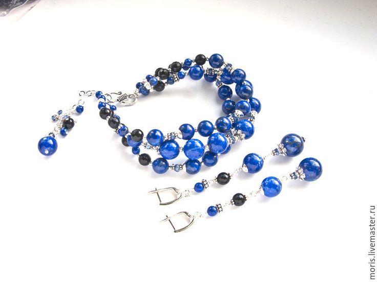 """Купить Комплект браслет и серьги из лазурита """"Латиша"""" серебро кианит - многорядный браслет, браслет с лазуритом"""