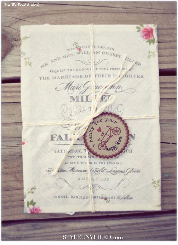 Vintage Handkerchief wedding - Faire-part mariage vintage