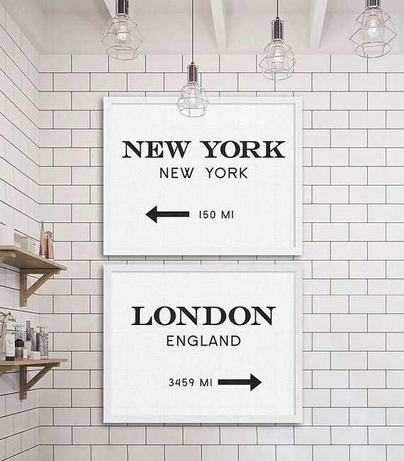 New York City Print London Art Industrial Wall Decor Gossip Girl Art Two Prints Cheap Art Gift for NYC Lover Modern Decor Subway Tile Ideas