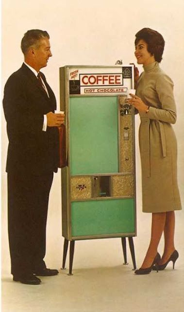 Coffee Vending Machine, 1960s. The college I went to still had one of these in the theater building in the late 80s.