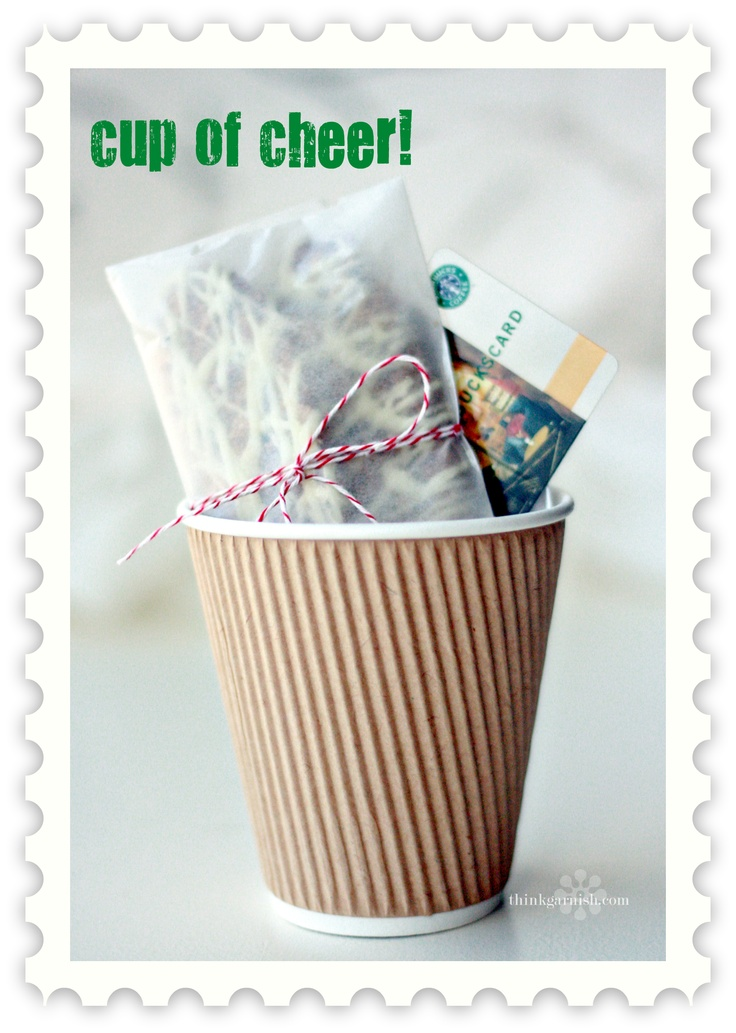 Christmas | Garnish Blog....cute for mailman, hairdresser etc....Gift Cups, Teacher Gifts, Cards Gift, Teachers Gift, Giftideas, Cheer Gifts, Gift Ideas, Christmas, Simple Gifts