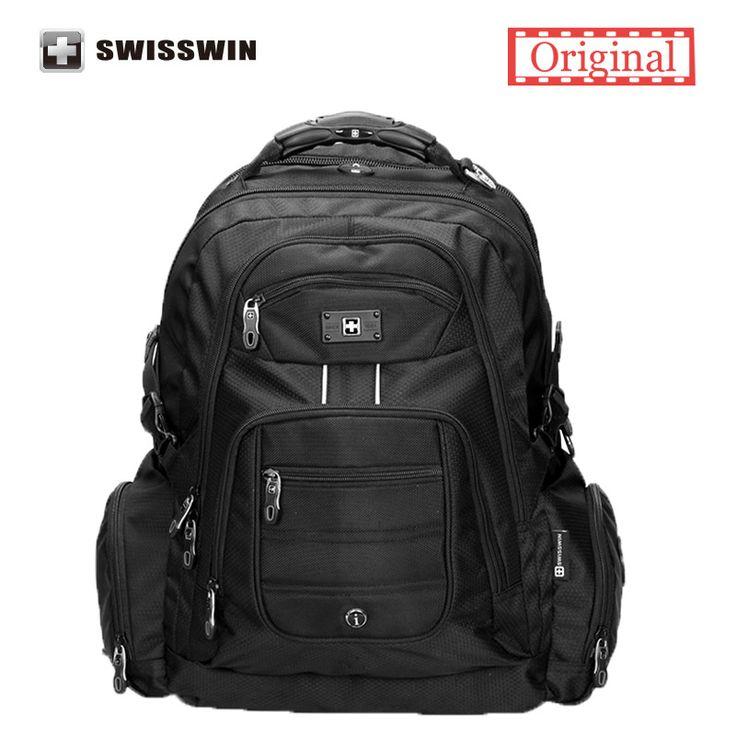 Swisswin 17 pulgadas laptop hombres mochila bolsa de ordenador portátil de nylon impermeable de alta calidad 37l sw9801 mochila de viaje grande negro