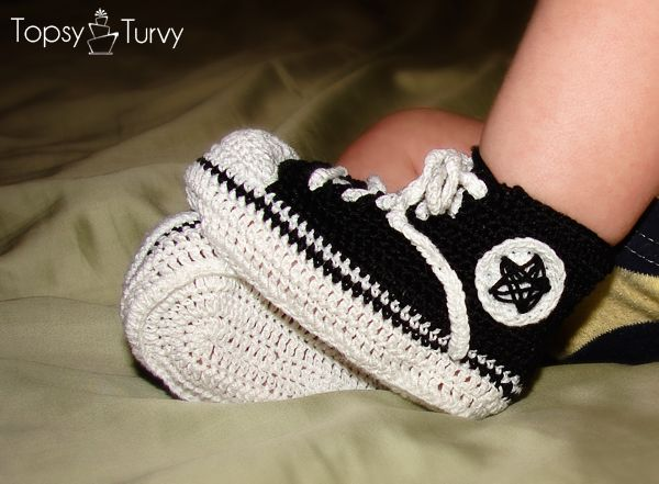 thread crochet converse infant tennis shoes.  http://imtopsyturvy.com/thread-crochet-converse-infant-tennis-shoes/