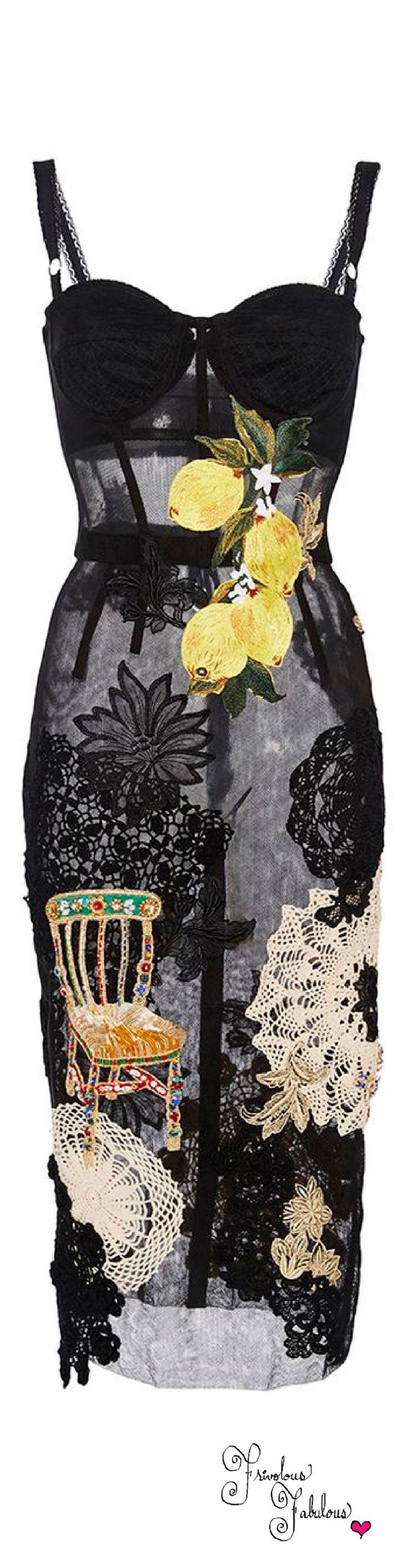 Frivolous Fabulous - Dolce & Gabbana Lemon Embroidered Stretch Tulle Sheath Dress Spring Summer 2016