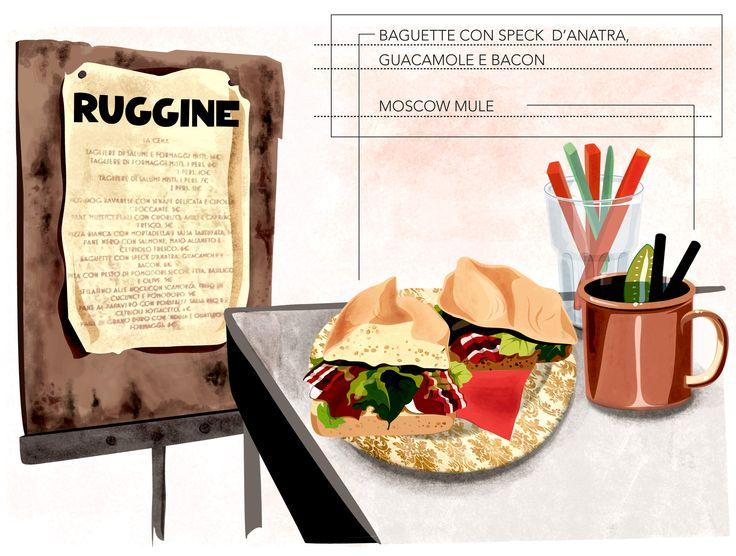 Baguette con speck d'oca, bacon e guacamole, presso Ruggine, Bologna