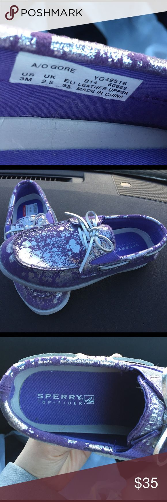 Sperry Top Sider size 3 Purple and silver Sperry Top Siders. Great condition! Sperry Top-Sider Shoes