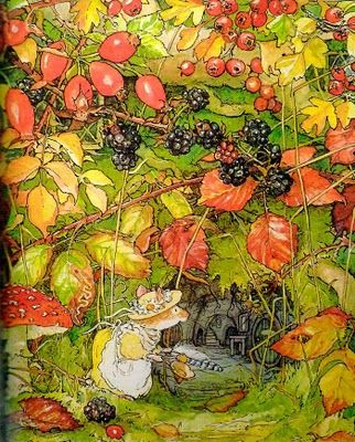 Primrose Woodmouse, Daughter of Lord & Lady Woodmouse - Brambly Hedge: Autumn Story by: Jill Barklem (I have a tin with this print on it!)