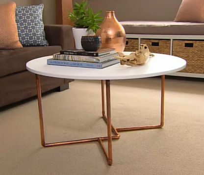 Tara Dennis Living Room Makeover Ep 7 20 03 15 Copper Tables Pinterest Table Pipe Furniture And