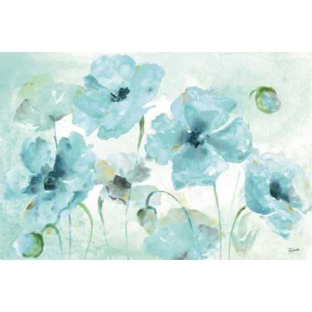 Watercolor Garden Blue Landscape Canvas Art - Tre Sorelle Studios (24 x 36)