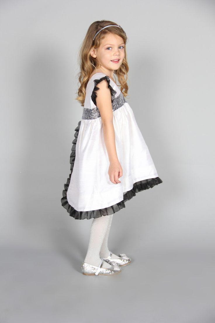 Kokoro dress - V-neck white silk dress with black lace and chiffon frilled trim.