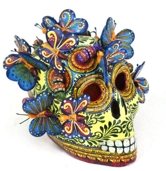 Day of the Dead Folk Art Gallery Alfonso Castillo Skull Butterflies