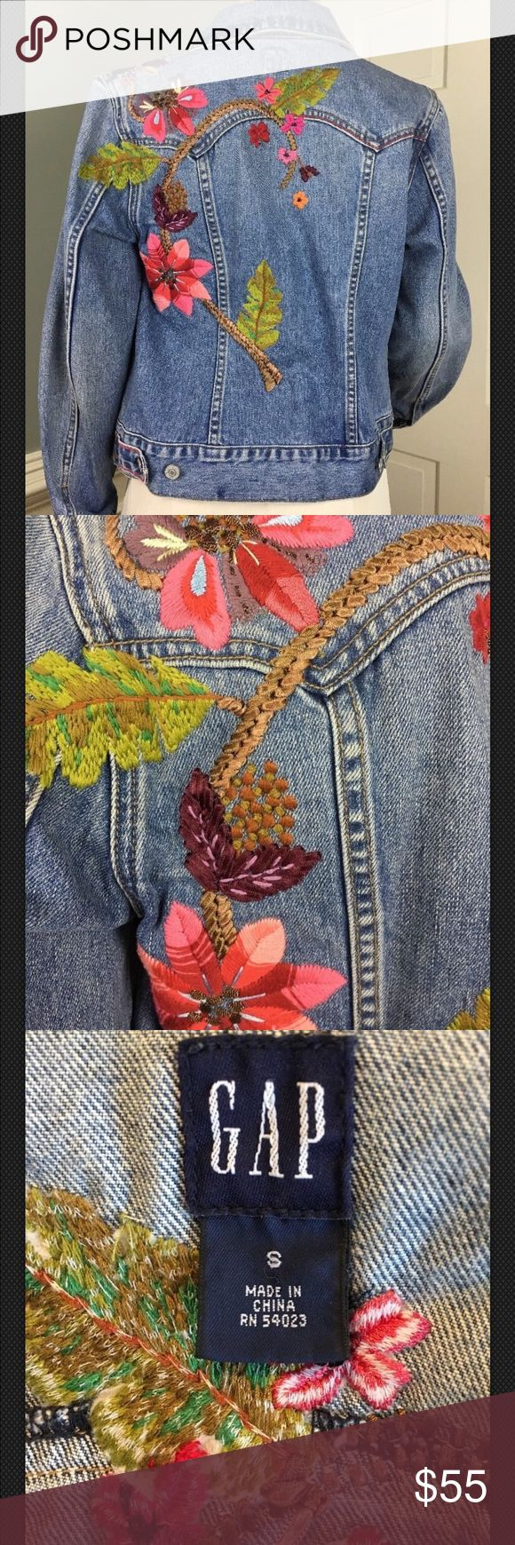 Floral Gap Embroidered Hippie Denim Jean Jacket Sm Excellent condition vintage gap jacket. All Embellishments are in place bright and beautiful GAP Jackets & Coats Jean Jackets