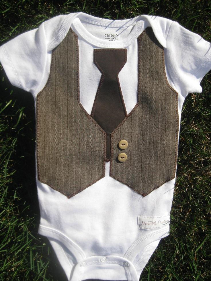 Brown Amp Tan Faux Vest And Tie Suit Onesie Bodysuit Baby