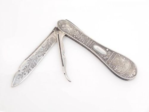 Antique-19c-Floral-Engraved-Blade-American-Coin-Silver-Aesthetic-Fruit-Knife