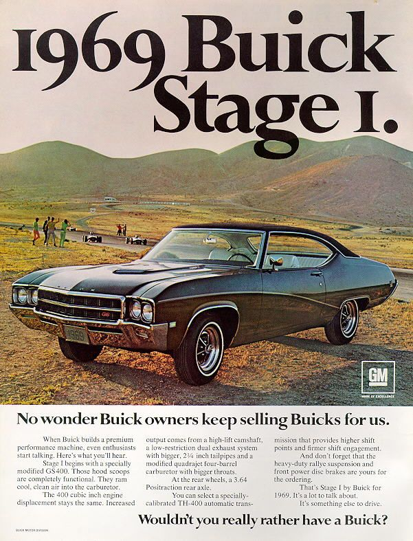 """1969 Buick GS400 Stage 1 Ad, """"Wouldn't you really rather have a Buick?"""" - Auto Fratelli Prima"""