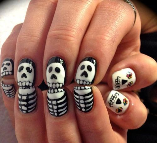 Skeleton nails nails dark emo diy halloween nail art diy ideas do