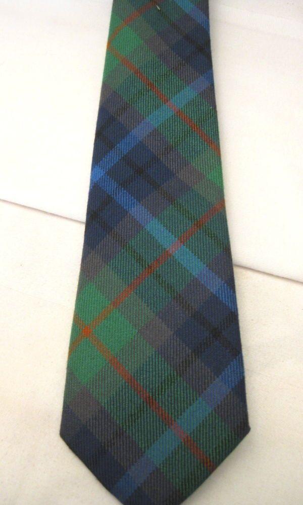 Lochcarron Made in Scotland 'New Wool' Green Plaid Tartan Mens Neck Tie Vintage #Lochcarron #NeckTie