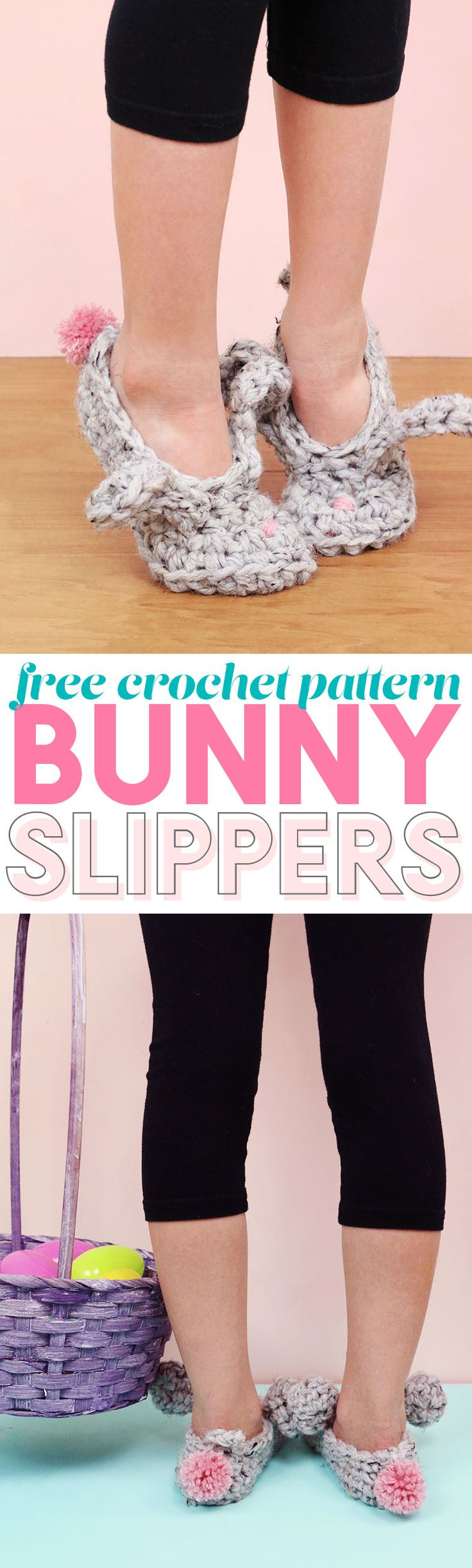 make these cute crochet bunny slippers! free pattern and video tutorial