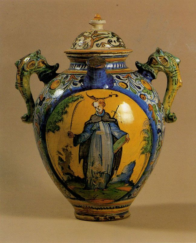 One of the oldest jar of the Pharmacy (late 16th century) showing San Peter Martyr, Santa Maria Novella, Firenze