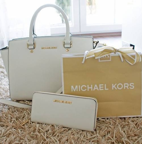 Michael Kors Selma Top-Zip Large White Satchels Outlet