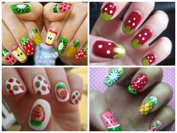#Fruits #nail #polish #designs #strawberries #kiwi #watermelon #pineapple #manicure #pedicure