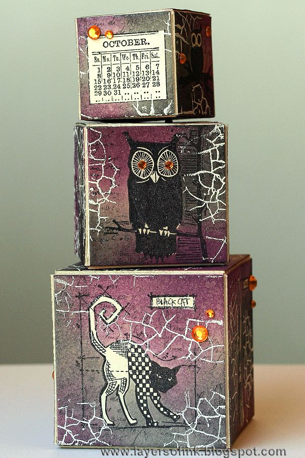 Layers of ink - Halloween Magic Blocks Tutorial, made with Eileen Hull Sizzix dies and stamps by Tim Holtz.