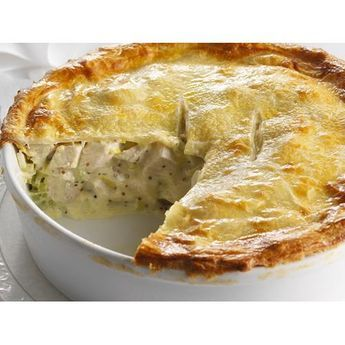 Chicken and leek pie recipe - By Australian Women's Weekly, This creamy, mustardy chicken and leek pie is big enough for all the family. Perfect for dinner, or a winter weekend lunchtime.
