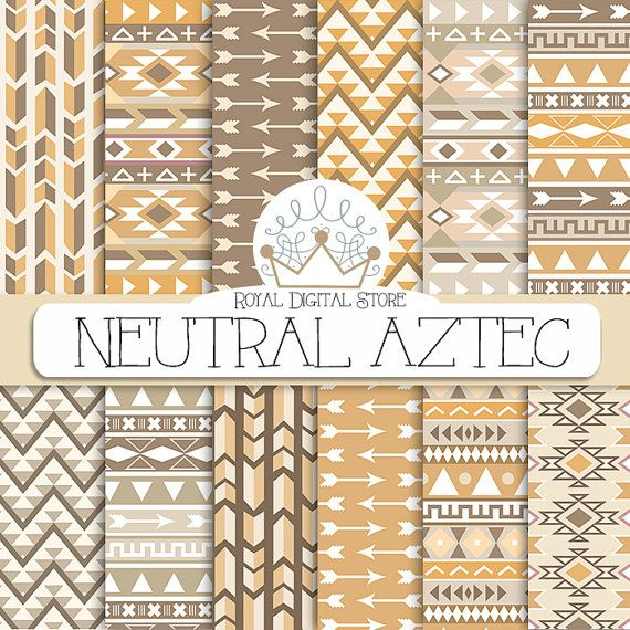 """Tribal digital paper: """" Neutral Aztec Digital Paper"""" with tribal, aztec patterns, backgrounds in beige, brown, geometric patterns #scrapbooking #shabby"""
