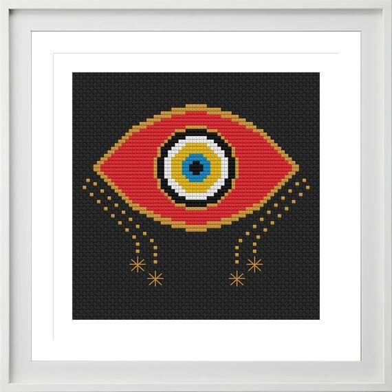 Evil Eye cross stitch kit handmade gift beginner cross stitch easy cross stitch modern cross stitch craft kit