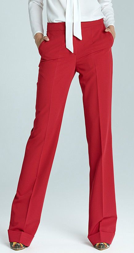Pantalon Rouge femme Bootcut  Mode Large Revers SD21 Nife 34 36 38 40 42 44
