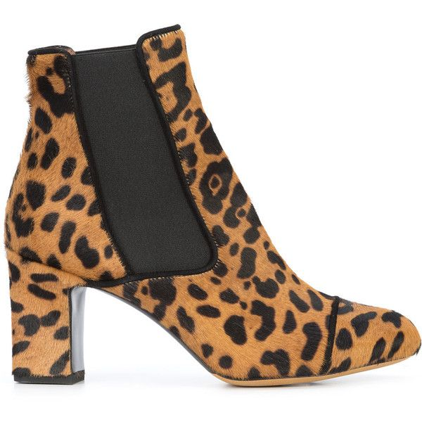 Tabitha Simmons leopard print Kiki boots (57.635 RUB) ❤ liked on Polyvore featuring shoes, boots, brown, slip on leather boots, mid heel boots, brown slip on shoes, mid-heel boots and slip on boots