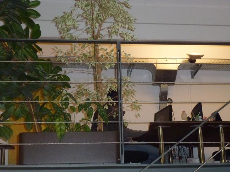 Office desktops building behind green trees at Hyphen-Land