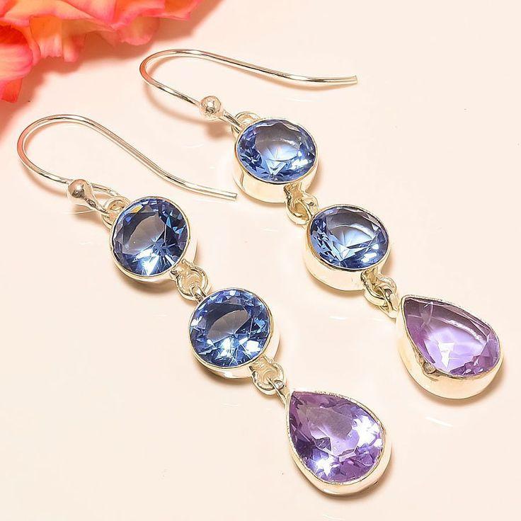 "Amazing Alexanderite, Tanzanite Quartz 925 Sterling Silver Jewelry Earring 2.56"" #Handmade #DropDangle"