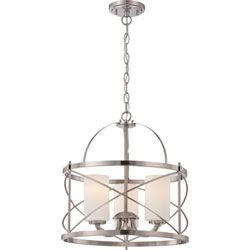 Ginger Brushed Nickel Three-Light Drum Pendant with Etched Opal Glass