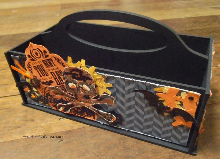 BaRb'n'ShEllcreations - Stampin' Up, Tim Holtz, Taylored Expressions, Cuttlebug - Creepy and Cool Dusty Attic Tool Caddy - made by Shell