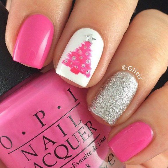 silver-and-pink-glittery-christmas-tree-nails