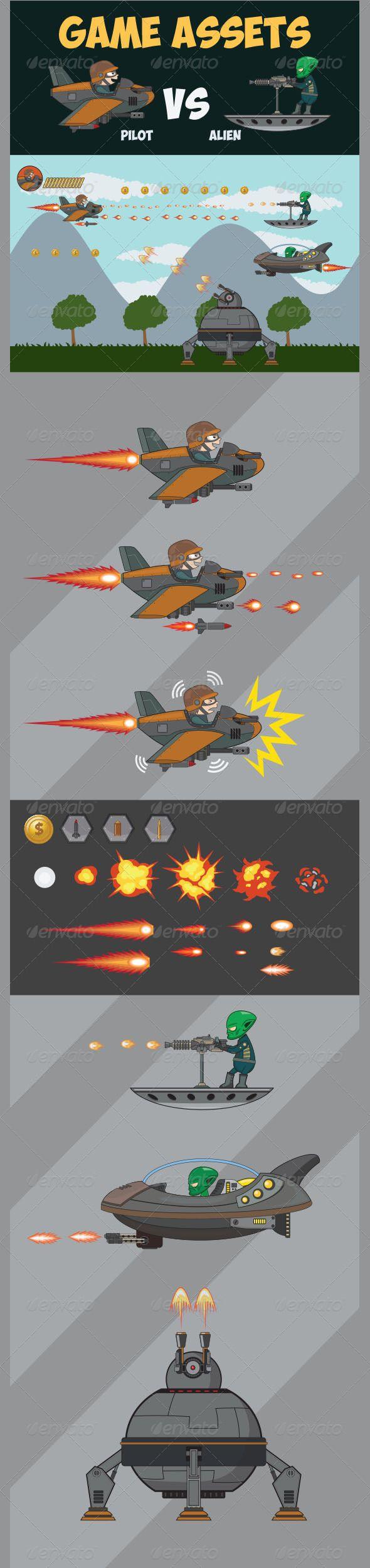 Game Asset  Pilot Vs Alien — Vector EPS #cartoon #item • Available here → https://graphicriver.net/item/game-asset-pilot-vs-alien/7975387?ref=pxcr