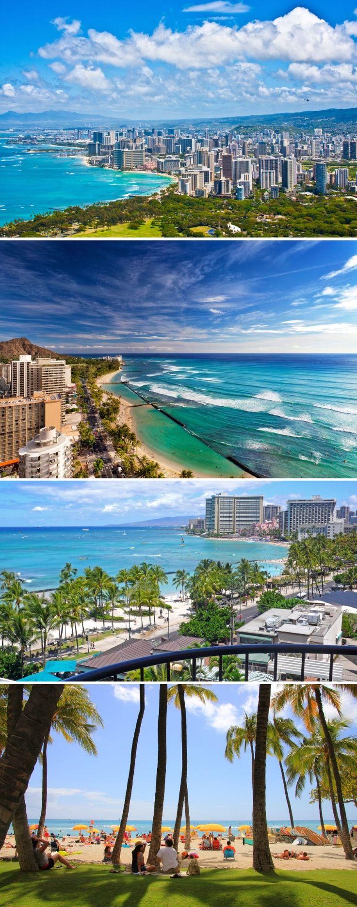 Сегодня мы с тобой отправимся на остров Оаху – самый главный остров архипелага Гавайские острова. Самый большой город на Оаху – Гонолулу, который и является столицей американского штата Гавайи.  Визитной карточкой Гонолулу является пригород Вайкики – один из самых известных курортов мира. Красивое и чистое место. Благодаря тропическому климату тут круглый год солнце и тёплый океан.