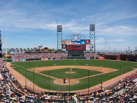 San Francisco Giants ballpark. Home of the San Francisco Giants. I will always be a loyal SF Giants fan, even if I am not from San Francisco. Let's go Giants. And this baseball park is a beautiful one. Nice and big.
