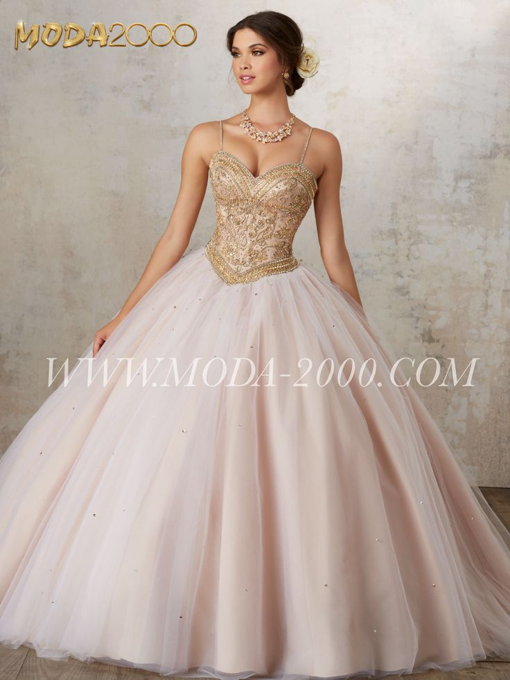 ELEGANT CRYSTAL BLUSH / GOLD QUINCEANERA DRESS | ONE TULLE Follow us on instagram for daily updates @moda_2000