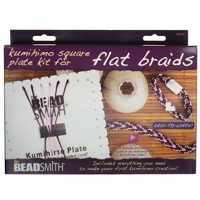 BeadSmith Kumihimo Starter Kit, Square Plate with Bobbins Findings and Rattail Mix, Grey
