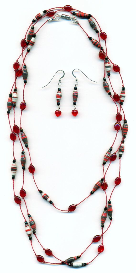 Red Paper Bead Hand Knotted Lariat Necklace by FeithHodgeCreations, $32.50