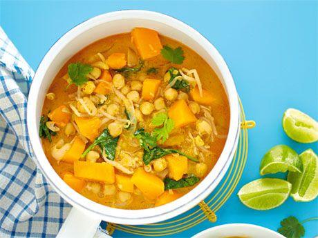 Thaicurry med pumpa och kikärter Receptbild - Allt om Mat