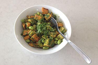 Roast kumara salad with wild rocket dressing – Recipes – Bite
