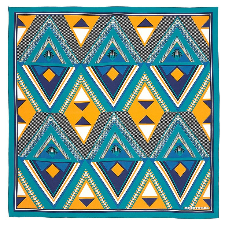 The lines in this in this print are very strong exaggerating the contours of the diamond and triangle the size of each shapes are consistent the larger diamond shapes create a negative shape of a smaller diamond.This piece is a repeat pattern the main motif in this pattern would be the large diamond shape. Both primary colours and monochromatic shades.