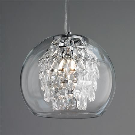 I have always loved this pendant - powder room? Glass Globe & Crystal Pendant Light