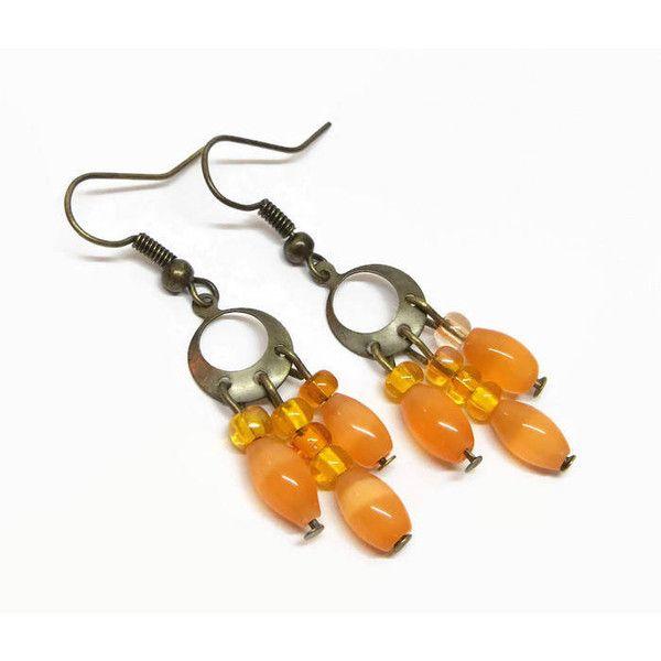 Orange Boho Chandelier Earrings, Petite Chandelier Earrings, Antique... ($10) ❤ liked on Polyvore featuring jewelry, earrings, bohemian jewellery, dangle earrings, boho earrings, antique gold earrings and boho jewelry