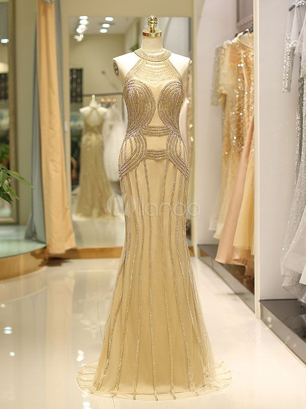 c1ec5ea216d Luxury Evening Dresses Heavy Beaded Light Gold Halter Mermaid Formal Gowns  With Train